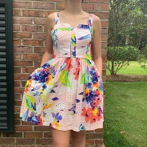 New Trina Turk Floral Eyelet Dress 4